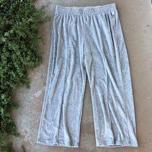 Good American Gray Wide Leg Velour Sweat Pants
